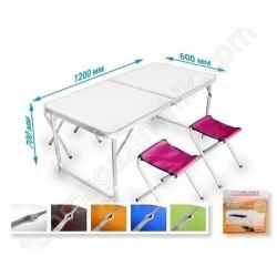 Стол для пикника Folding table +4 chairs белый мрамор NO.2