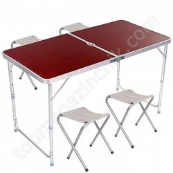 Стол Усиленный для пикника с 4 стульями FOLDING TABLE HEAVY ((60х120 СМ))