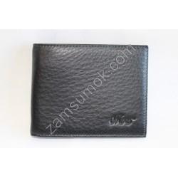 Мужской кошелек без застежка кожаный Черный 208S Moro