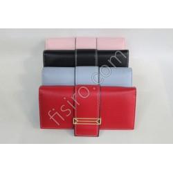 Женский кошелек на магните кожзам Черный 7996