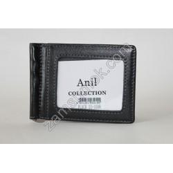 Мужской зажим для купюр кожаный черный 22-1008